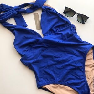 NWT J. Crew blue halter one-piece